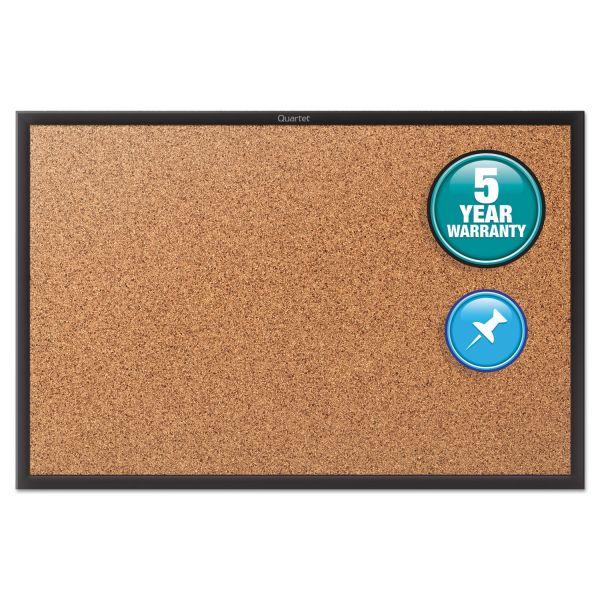 Quartet Classic Series Cork Bulletin Board, 24x18, Black Aluminum Frame