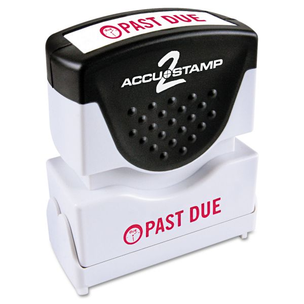 ACCUSTAMP2 Pre-Inked Shutter Stamp, Red, PAST DUE, 1 5/8 x 1/2