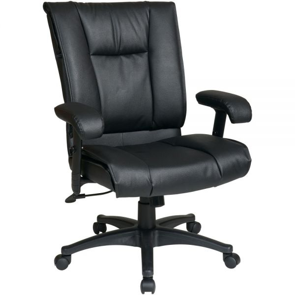 Office Star EX9381 Deluxe Leather Mid-Back Office Chair