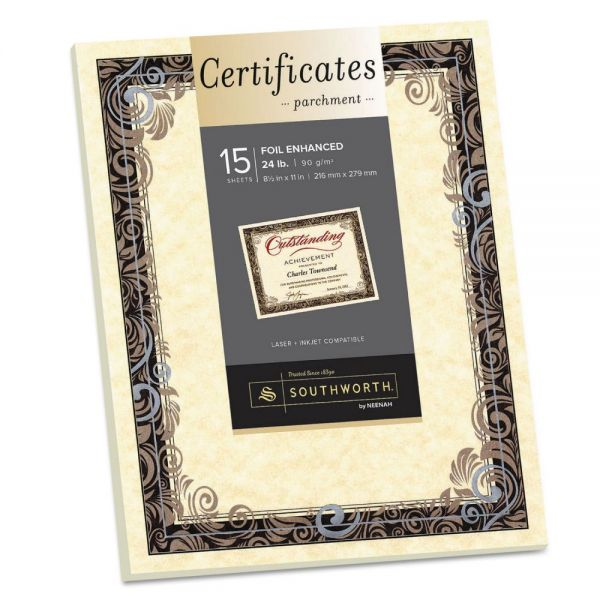 Southworth Foil-Enhanced Parchment Certificate, Ivory w/Silver Foil, 8 1/2 x 11, 15/Pack