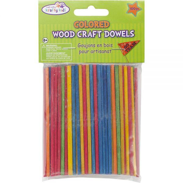 Krafty Kids Colored Wood Craft Dowels