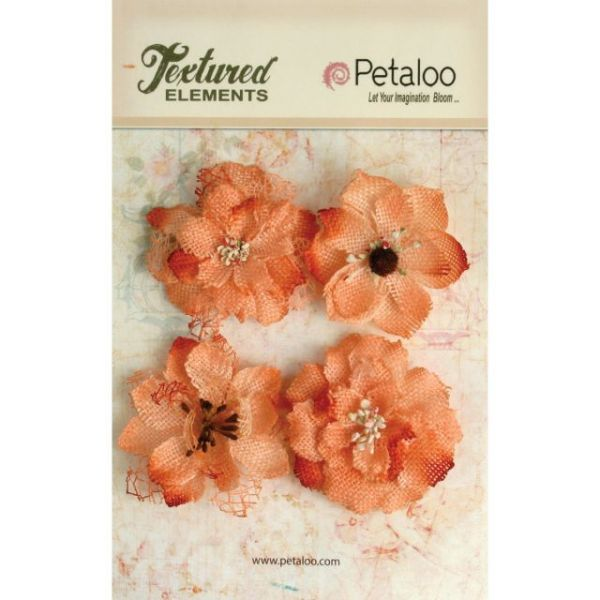 "Textured Elements Burlap Blossoms 2.25"" 4/Pkg"