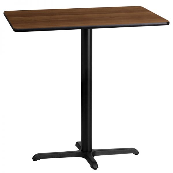 Flash Furniture 24'' x 42'' Rectangular Walnut Laminate Table Top with 22'' x 30'' Bar Height Table Base
