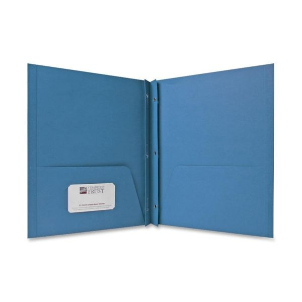 Sparco Light Blue Two Pocket Folders with Fasteners