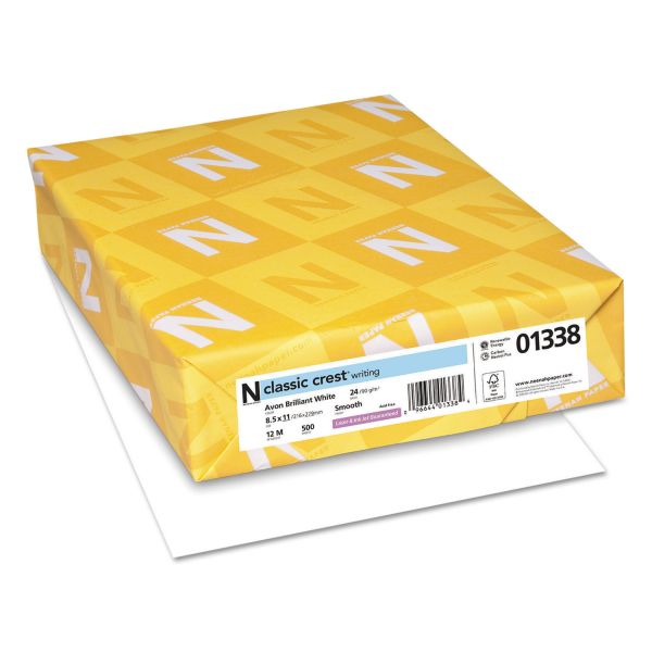 Neenah Paper CLASSIC CREST Writing Paper, 24lb, 93 Bright, 8 1/2 x 11, Avon White, 500 Sheets