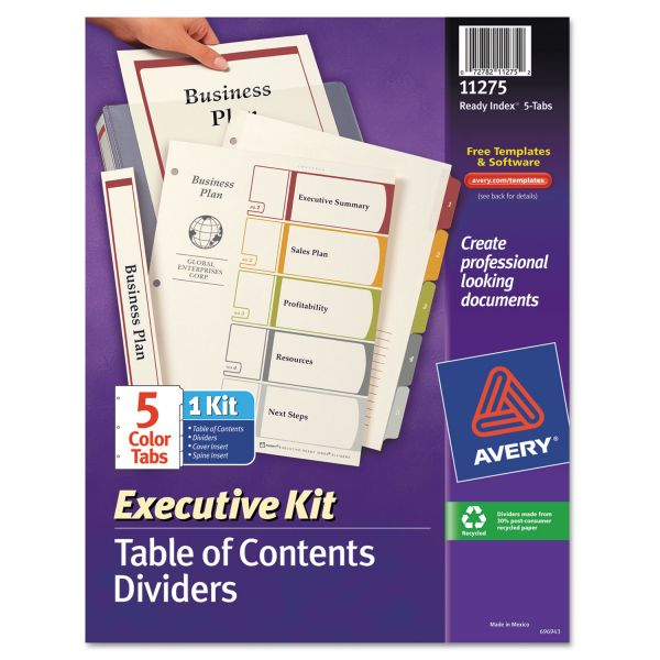 Avery Executive Kit Index 5-Tab Numbered Dividers With Table Of Contents Page