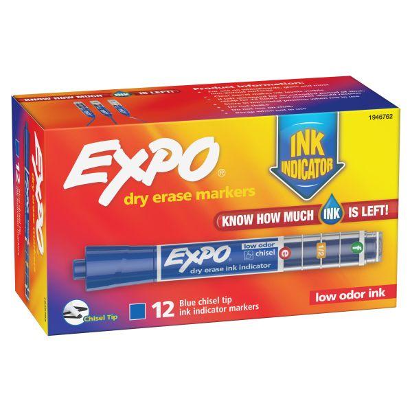 EXPO Ink Indicator Dry Erase Marker, Chisel Tip, Blue, Dozen