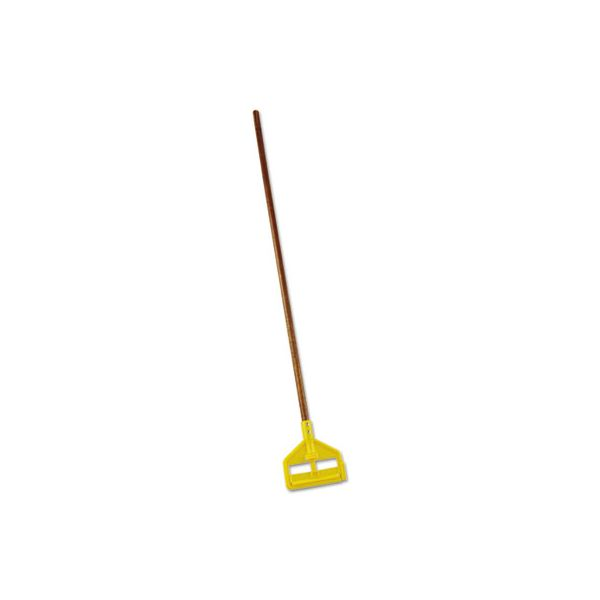 "Rubbermaid Commercial Invader Wood Side-Gate Wet-Mop Handle, 54"", Natural/Yellow"