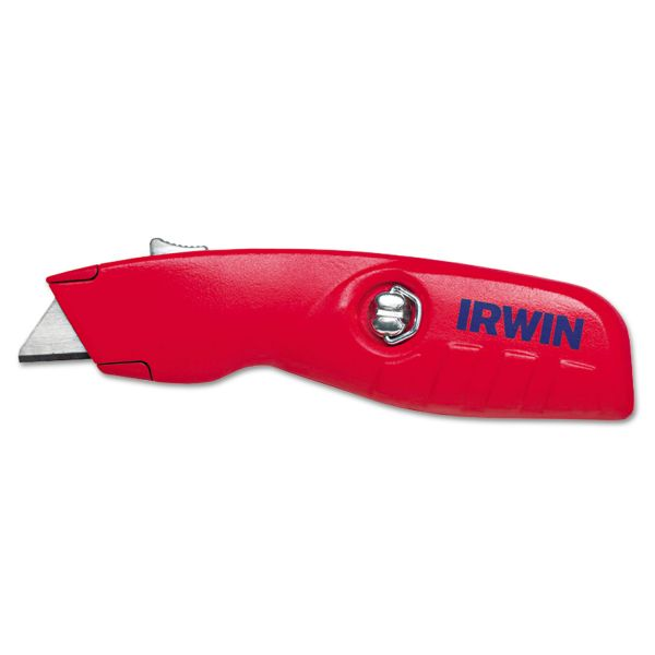IRWIN Self-Retracting Safety Knife, 1 Retractable Blade, Red/Silver