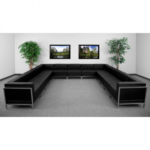 Flash Furniture HERCULES Imagination Series Black Leather U-Shape Sectional Configuration, 13 Pieces