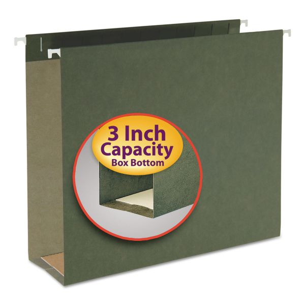 Smead Three Inch Capacity Box Bottom Hanging File Folders, Letter, Green, 25/Box