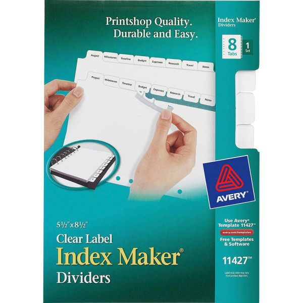 Avery Print & Apply Clear Label Dividers, 8-Tab, White Tab, 5 1/2 x 8 1/2, 1 Set