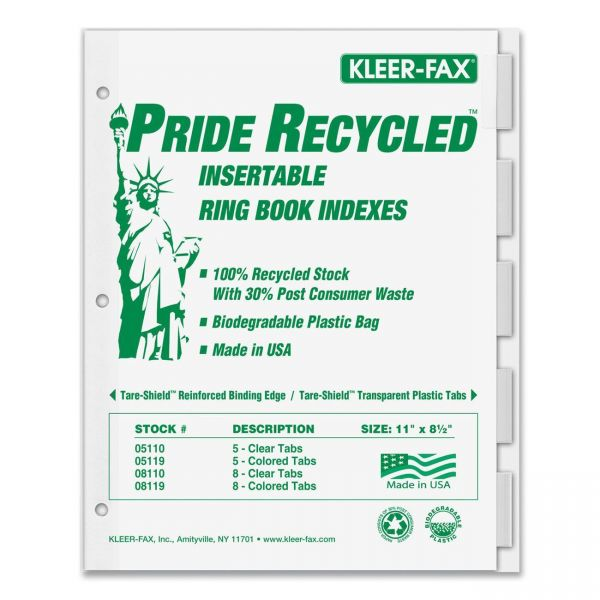 Kleer-Fax Recycled Insertable Tab Index Dividers