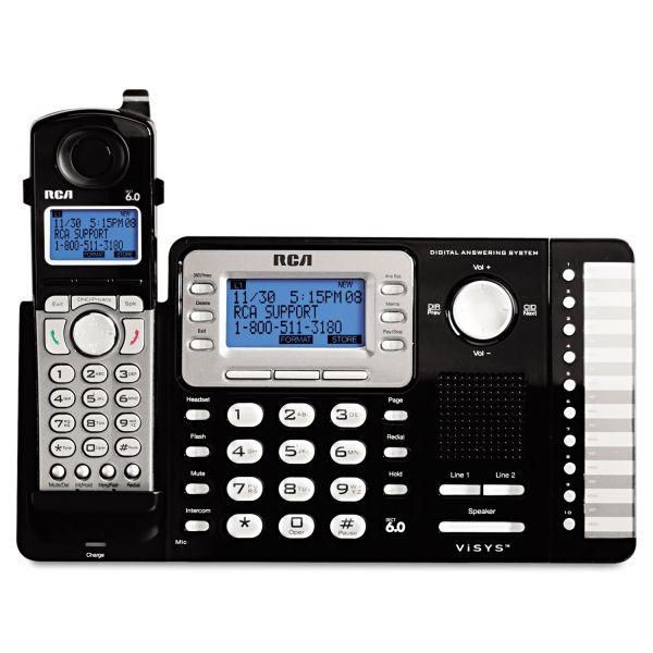 RCA ViSYS DECT Cordless Phone - Black, Silver
