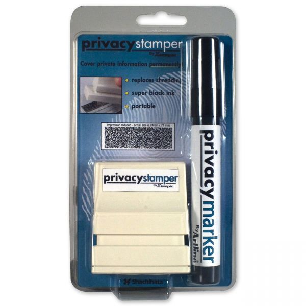 Xstamper Secure Stamp S10 with Marker, 1/2 Inch x 1 5/8, Black