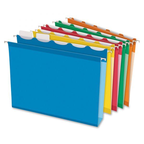 "Pendaflex Ready-Tab Hanging File Folders, 2"" Capacity, 1/5 Tab, Letter, Assorted, 20/Box"