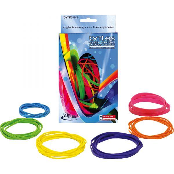 Alliance Brites Pic-Pac Rubber Bands, Blue/Orange/Yellow/Lime/Purple/Pink, 1-1/2-oz Box