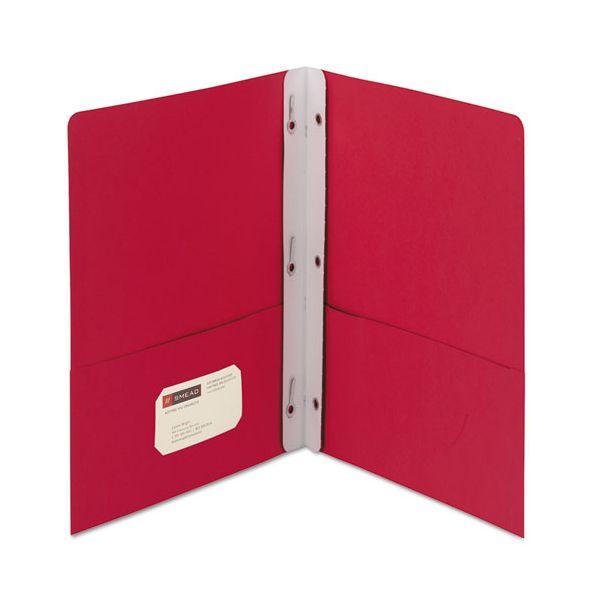 "Smead 2-Pocket Folder w/Tang Fastener, Letter, 1/2"" Cap, Red, 25/Box"