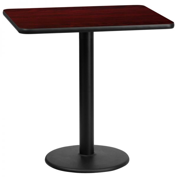 Flash Furniture 24'' x 30'' Rectangular Mahogany Laminate Table Top with 18'' Round Table Height Base
