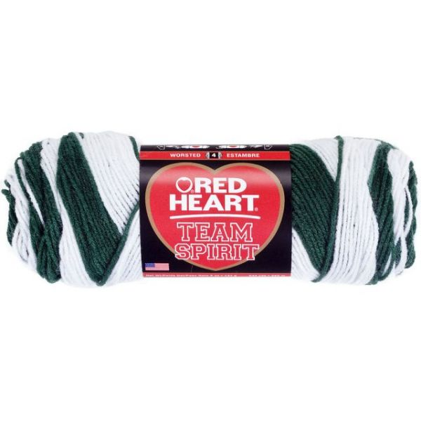 Red Heart Team Spirit Yarn - Green/White