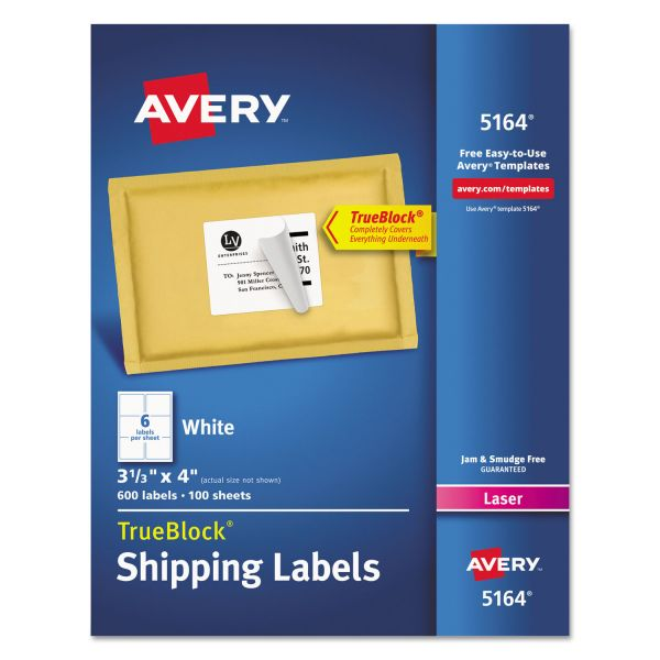 Avery Shipping Labels with TrueBlock Technology, Laser, 3 1/3 x 4, White, 600/Box