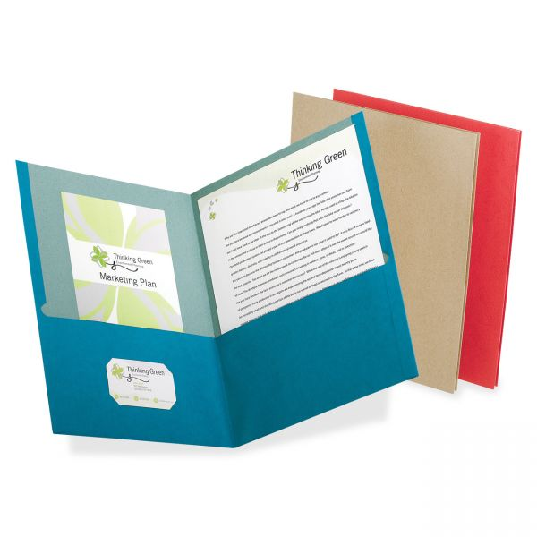 Oxford Earthwise by Oxford Recycled Paper Twin-Pocket Portfolio, Assorted Colors, 25/BX