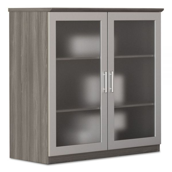 Mayline Medina Series Glass Display Cabinet, 36 w x 20d x 39 1/4h, Gray Steel