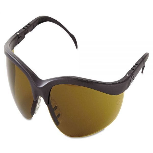 MCR Safety Klondike Protective Eyewear, Black Frame, Brown Lens