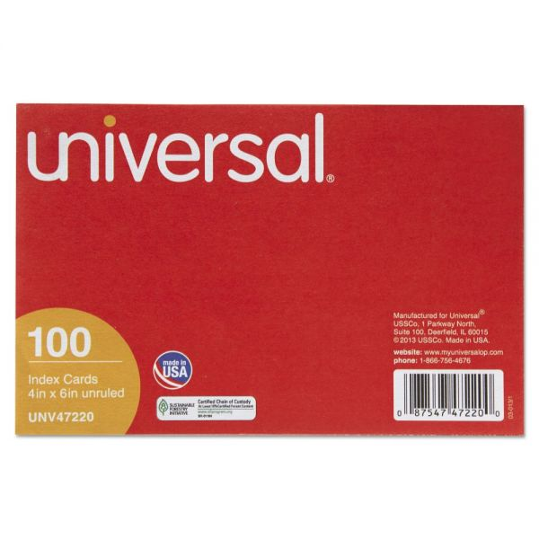 "Universal 4"" x 6"" Blank Index Cards"