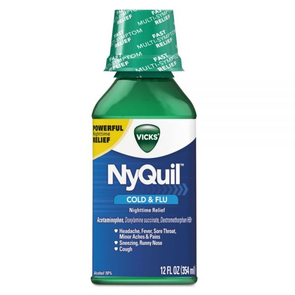 Vicks NyQuil Cold & Flu Nighttime Liquid, 12 oz Bottle, 12/Carton