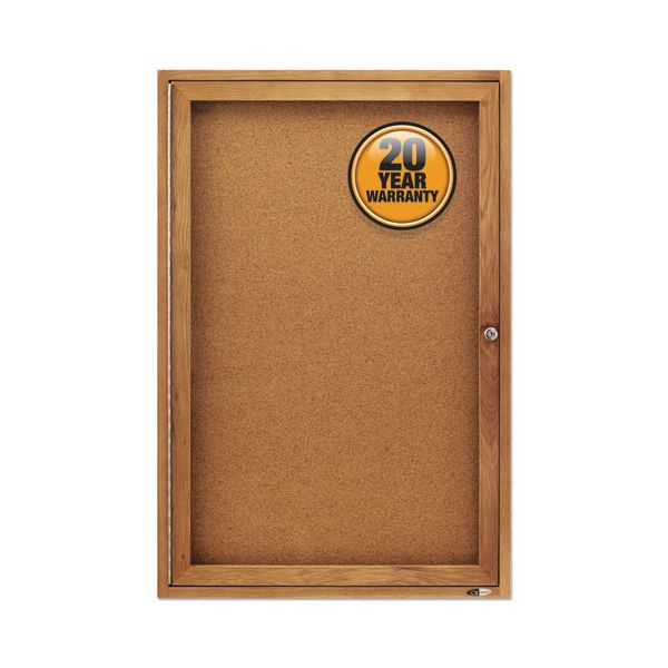 Quartet Enclosed Bulletin Board, Natural Cork/Fiberboard, 24 x 36, Oak Frame