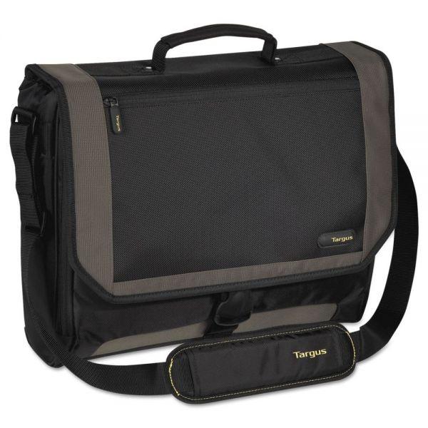 Targus CityGear Miami Messenger Notebook Case, Nylon, 19 x 5 x 14, Black/Gray/Yellow
