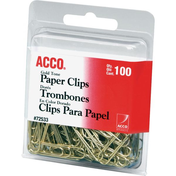 Acco Smooth Gold Paper Clips