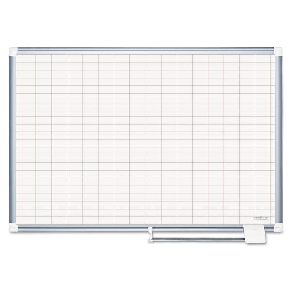 MasterVision Grid Platinum Plus Dry Erase Board, 1x2 Grid, 36x48, Silver Frame
