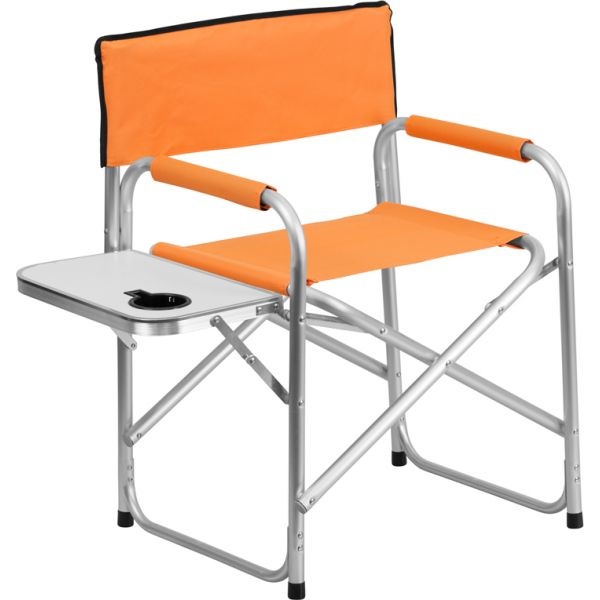 Flash Furniture Aluminum Folding Camping Chair with Table and Drink Holder in Orange