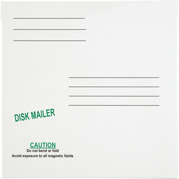 Quality Park Redi File Disk Pocket Mailer, 6 x 5 7/8, Recycled, White, 10/Pack