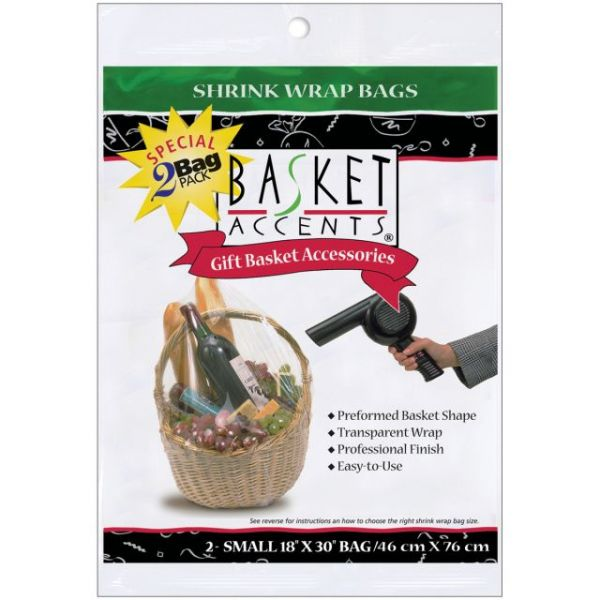 "Basket Accents Shrink Wrap Bags Small 18""X30"" 2/Pkg"
