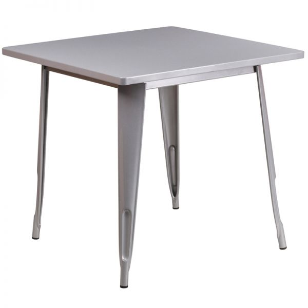 Flash Furniture 31.5'' Square Silver Metal Indoor-Outdoor Table