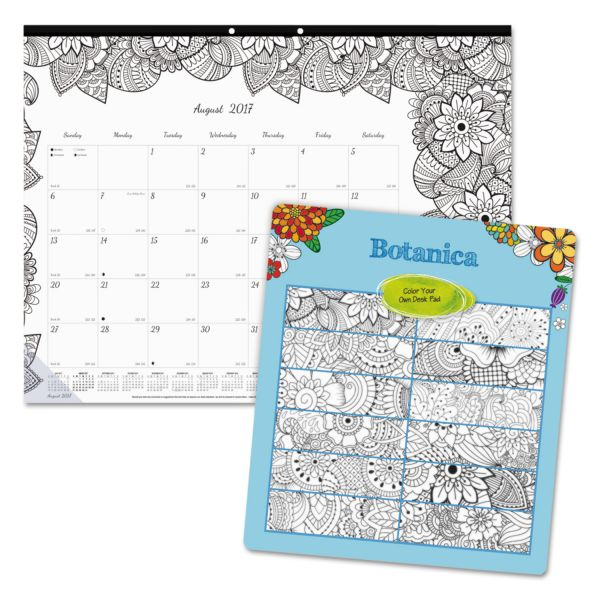 Blueline DoodlePlan Academic Monthly Calendar Desk Pad w/Coloring Pages