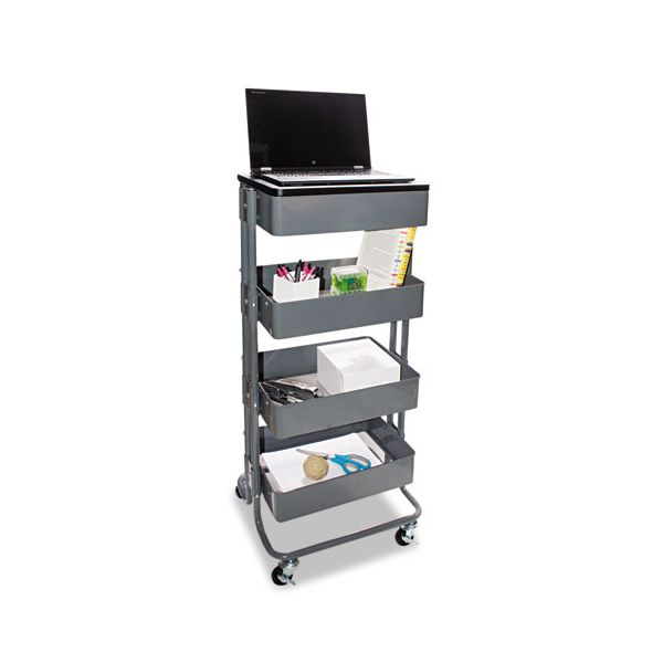 Vertiflex Multi-Use Storage Cart/Stand-Up Workstation, 13.9w x 11.75d x 18.5-39.5h, Gray