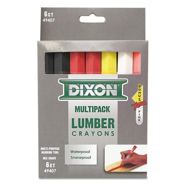 Dixon Lumber Crayons, 4 1/2 x 1/2, 6 Assorted + Bonus Pink, 7/Box
