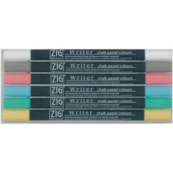 Zig Memory System Writer Chalk Pastel Dual-Tip Markers 6/Pkg