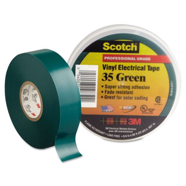 "3M Scotch 35 Vinyl Electrical Color Coding Tape, 3/4"" x 66ft, Green"