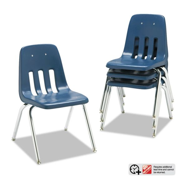 "Virco 9000 Series Classroom Chairs, 16"" Seat Height, Navy/Chrome, 4/Carton"