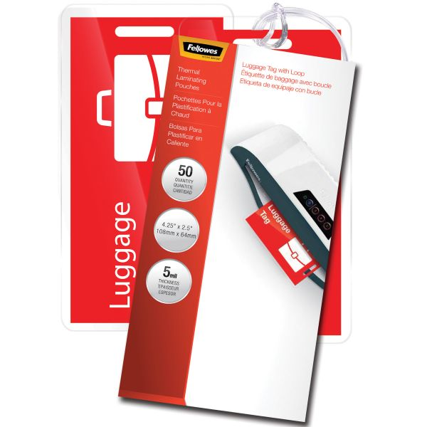 Fellowes Luggage Tag Laminating Pouches