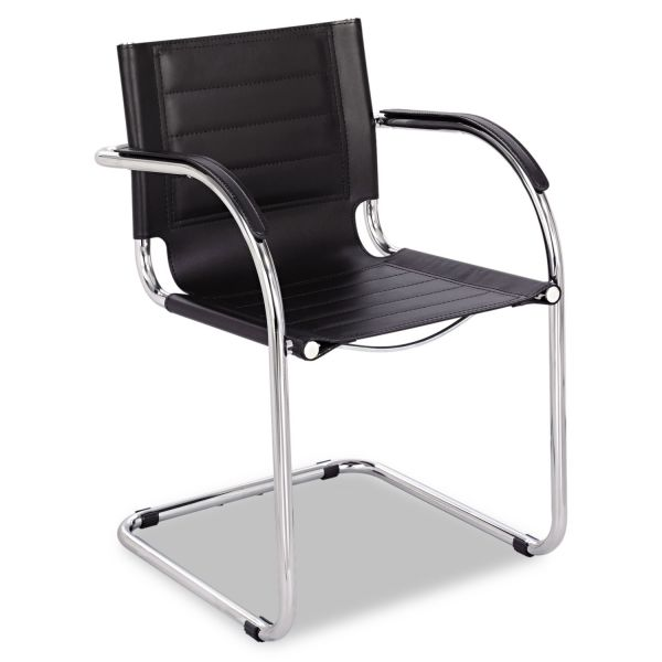 Safco Flaunt Series Guest Chair, Black Leather/Chrome