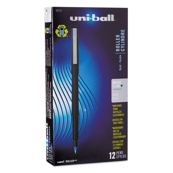 uni-ball Roller Ball Stick Dye-Based Pen, Blue Ink, Micro, Dozen