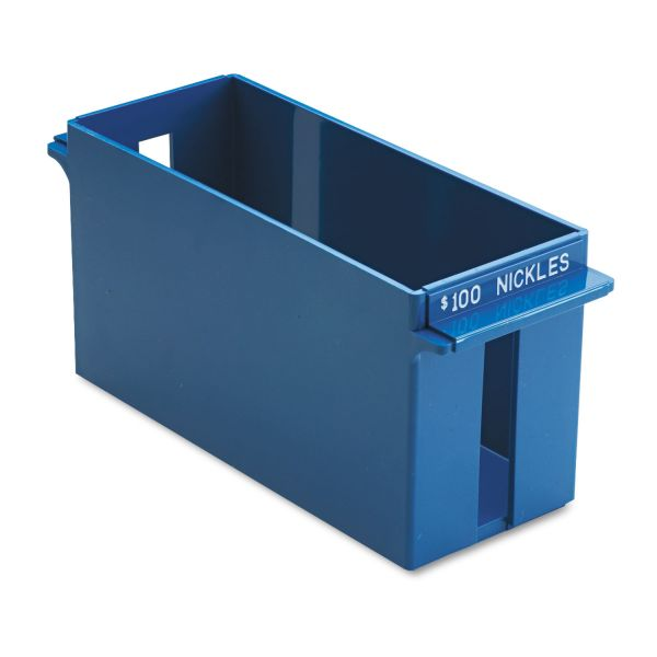 MMF Industries Porta-Count System Extra-Capacity Rolled Coin Plastic Storage Tray, Blue
