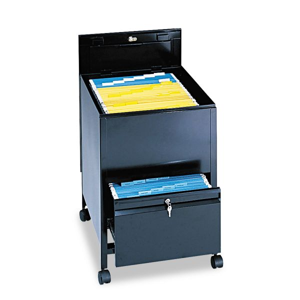 Safco Locking Mobile Tub File With Drawer, Legal Size, 20w x 25 1/2d x 27 3/4h, Black