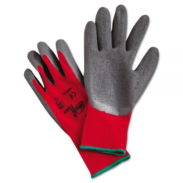 Memphis Ninja Flex Latex-Coated-Palm Gloves, Nylon Shell, XL, Red/Gray